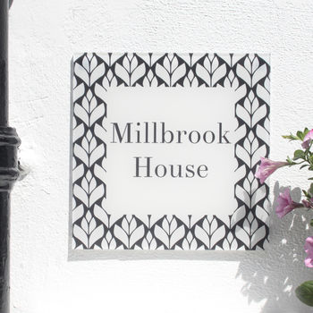 Personalised House Number Sign, Geometric Bud