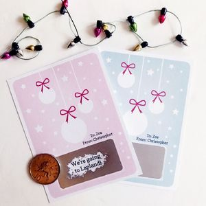 Personalised Bauble Christmas Surprise Scratch Card