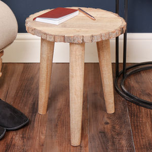 Natural Lumberjack Three Legged Tree Bark Stool - side tables