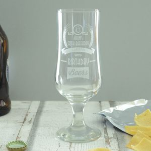 50th Birthday Personalised Beer Glass - tableware