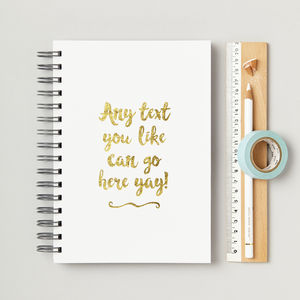 Any Text Hardback Personalised Notebook