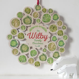 Wooden Brussel Sprouts Family Name Christmas Wreath - wreaths