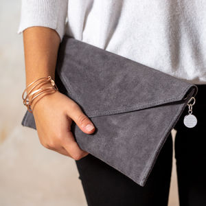 Personalised Suede Envelope Clutch Bag - bags