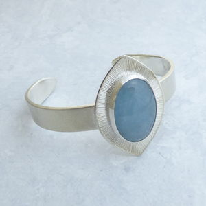 Chunky Aquamarine Engraved Cuff Bangle - bracelets & bangles