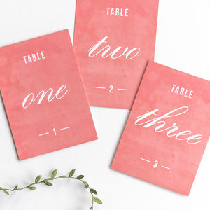 Traditional Style Table Numbers Or Names / Coral Pink - table numbers