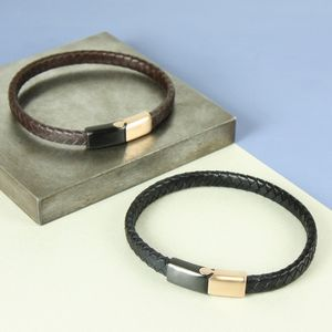 Men's Woven Bracelet With Mixed Metal Clasp - bracelets