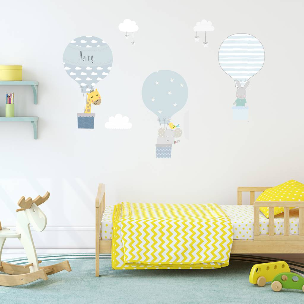 Blue Hot Air Balloon Fabric Wall Stickers By Littleprints