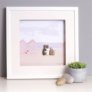 Personalised 'Life's A Beach' Family Pebble Picture - personalised