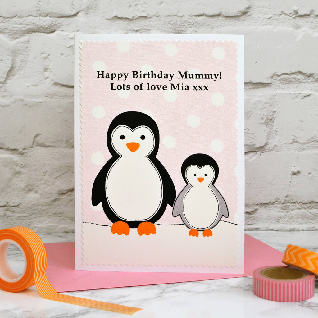 Penguins Personalised Birthday Card For Mummy Nanny