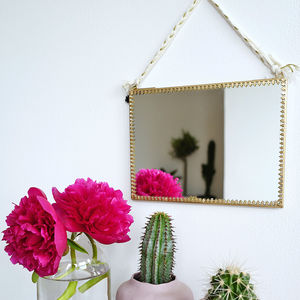 Brass Hanging Mirror With Metal Frame Detail - home accessories
