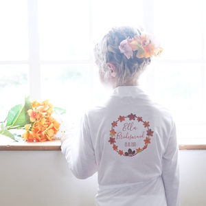 Personalised Autumn Wedding Flower Girl Dressing Gown