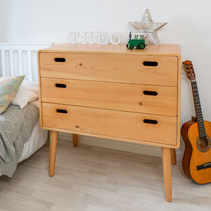 Children's Solid Pine Three Drawer Chest - baby's room