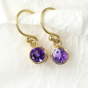 Amethyst Earrings In 18ct Gold