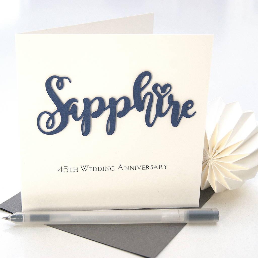 73cdae8e6 45th sapphire wedding anniversary card by the hummingbird card ...
