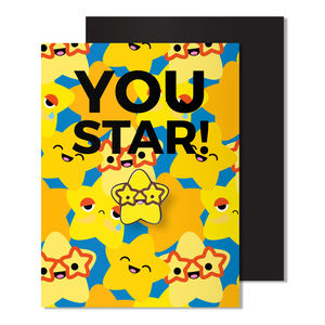 Magnetic Star Enamel Pin Badge Thank You Card