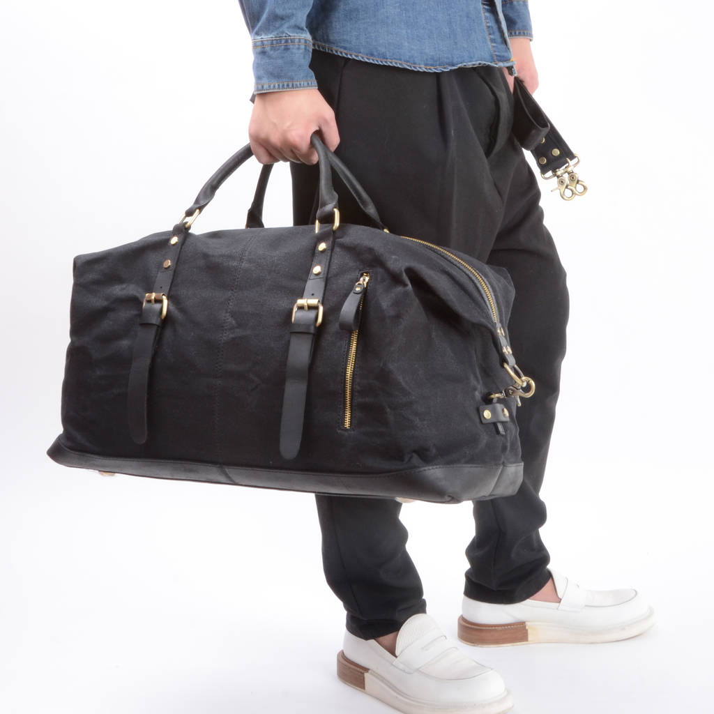 8435baefce black bag · Handmade Waxed Canvas Travel Bag · Personalised embroidered  intials · Personalised leather tags · Black bag