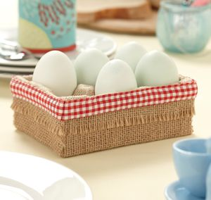 Hessian Egg Rack - egg cups