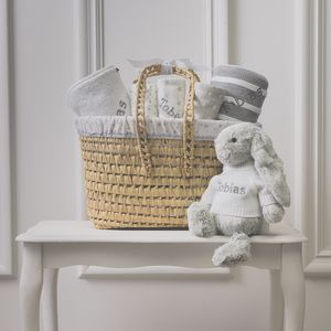 Personalised New Baby Gift Basket With Bashful Bunny - baby care
