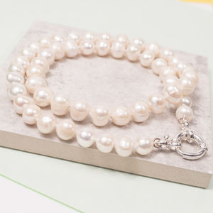 Freshwater Pearl Necklace With Anchor Clasp - wedding jewellery