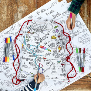 World Map Backpack Kit + 10 Pens, Colour And Learn