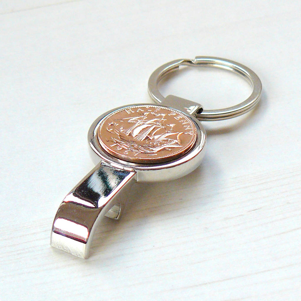 bottle opener keyring with coin by pennyfarthing designs. Black Bedroom Furniture Sets. Home Design Ideas
