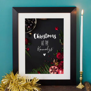 Personalised Chalkboard Effect Family Christmas Print