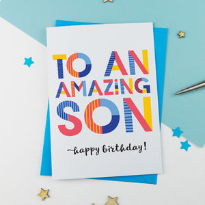 Amazing Son Personalised Card - graduation cards