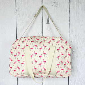 Flamingo Print Weekend Bag - holdalls & weekend bags