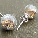 Steampunk Sterling Silver Glass Stud Earrings