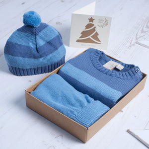 Baby Boy Stripy Knitted Outfit Gift Set