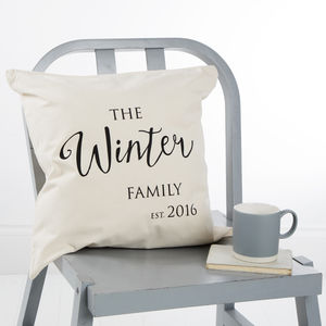 Personalised Family Established Cushion Cover - living room