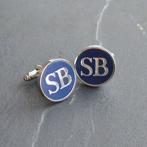 Personalised Leather Cufflinks - 50th birthday gifts