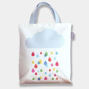 Multicoloured Raincloud Tote Bag - come rain or shine