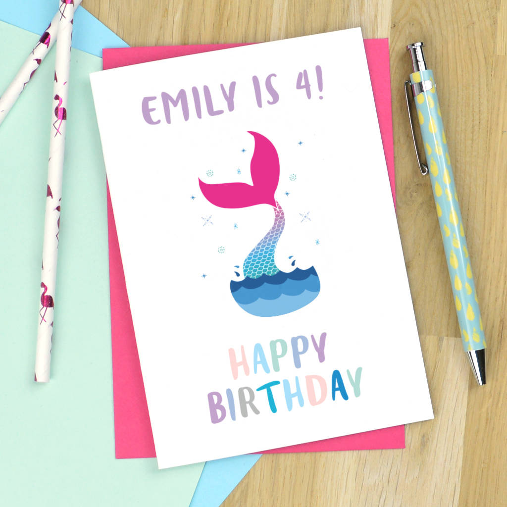 Personalised mermaid birthday card by pink and turquoise personalised mermaid birthday card bookmarktalkfo Images