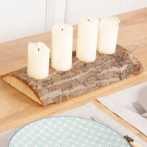 Bark Four Cone Candle Centrepiece