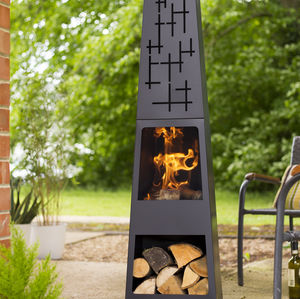Steel Chiminea With Wood Store - fire pits & outdoor heating