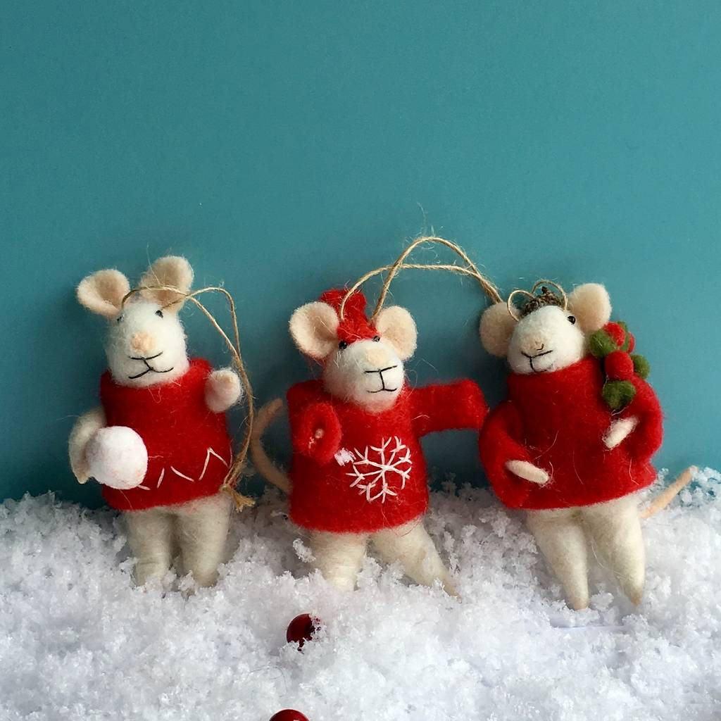 set of nordic wool mice christmas decorations