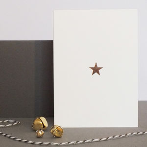 Rose Gold Star Christmas Cards, Set Of Six