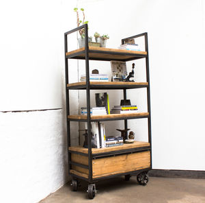 Ralph Scaffolding Boards And Steel Shelves With Castors - bookcases