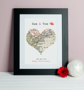 Wedding And Anniversary Map Heart Print - last-minute gifts