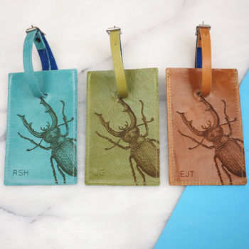 Personalised Leather Luggage Tag With A Stag Beetle