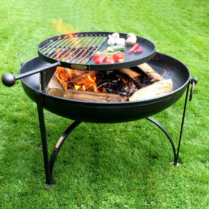 Plain Jane Firepit With Swing Arm Bbq Rack - fire pits & outdoor heating