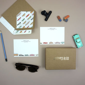 Personalised Retro Cars Correspondence Cards