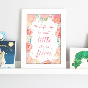'Though She Be But Little' Watercolour Nursery Print - nursery pictures & prints