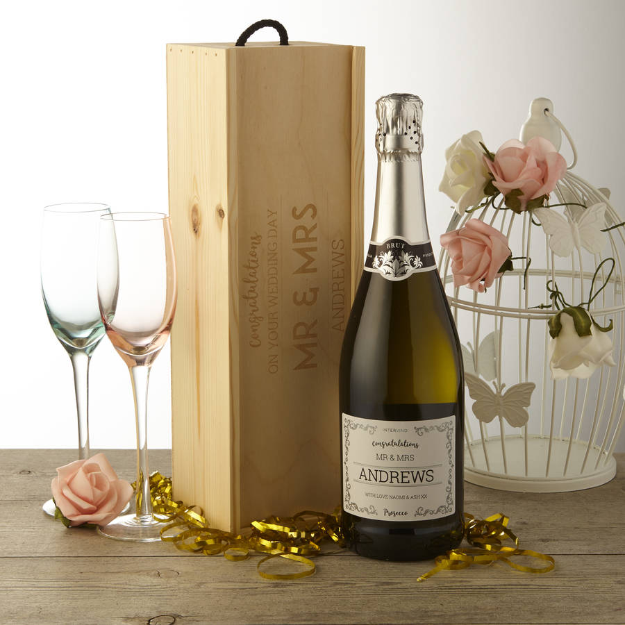 Prosecco gifts and ideas for prosecco lovers notonthehighstreet personalised wedding prosecco with wooden gift box prosecco gifts negle Gallery
