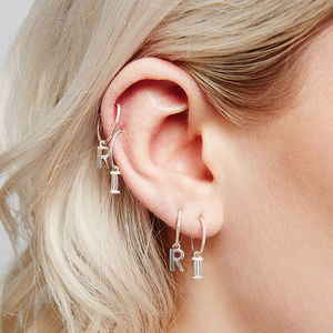 Initial Hoop Earrings - earrings