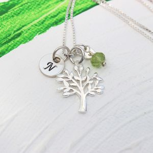 Mini Silver Tree Of Life Necklace With Birthstones - women's jewellery