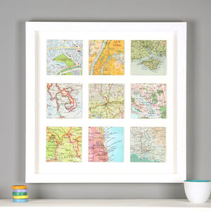 Personalised Nine Map Print Birthday Gift For Him - mixed media & collage