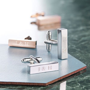 Personalised Bar Cufflinks - mens accessories for valentines day