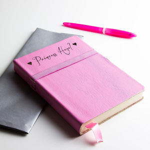 Personalised Coloured Leather Notebook/Journal - writing